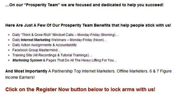 Prosperity Team Benifits
